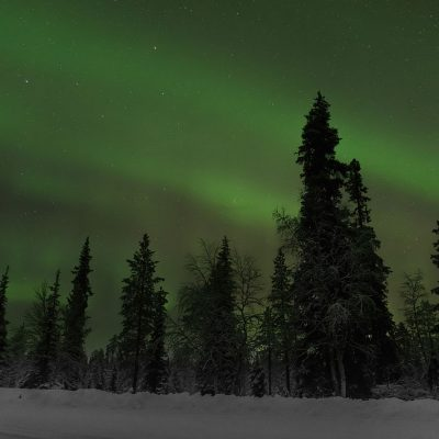 Northern lights captured during a cold night in Finnish Lapland
