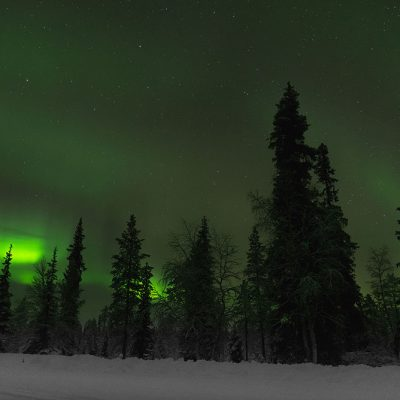 Northern lights captured in Finnish Lapland during a cold night