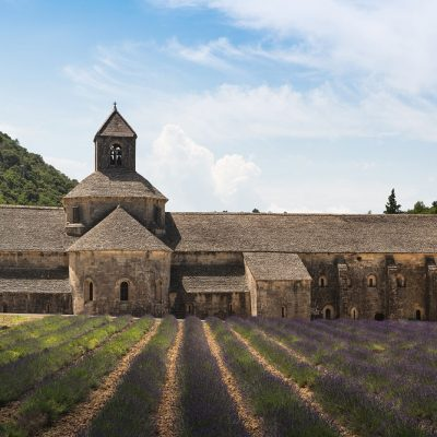 Monastry and a blooming lavender field in Provence