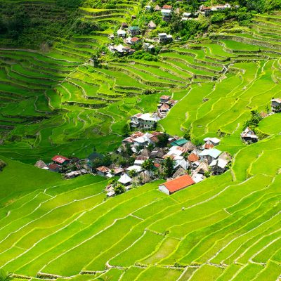 Batad village surround by thousands years old rice terraces of Philippines