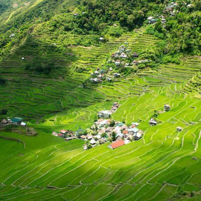 The majestic small village of Batad surrounded by thousands of years old antic rice fields terraces