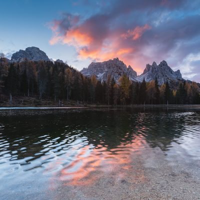 Sunrise over Dolomites moutains at Lago Antorno