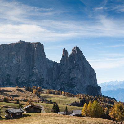 Cabins ate Alpe di Siusi in Dolomites