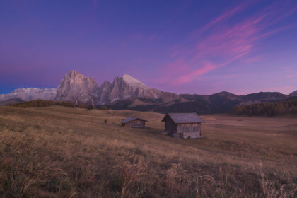 Sunset at Alpe di Siusi in the Dolomites
