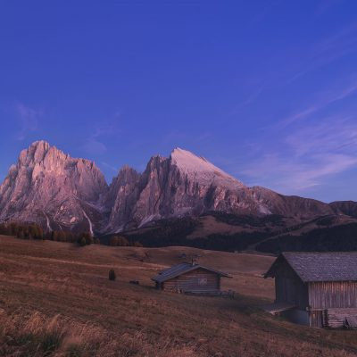 Blue hour just after sunset over Aple di Siusi meadow in Dolomites