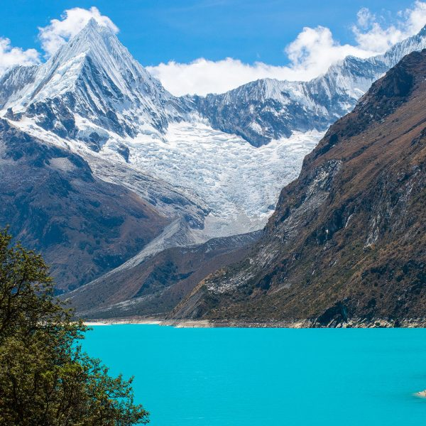 Blue water of Laguna Paron in Cordillera Blanca of Peru