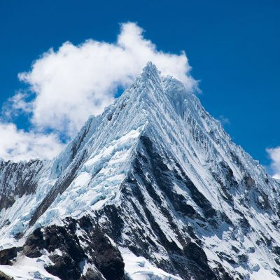 Close up of Piramide or Garcilaso moutain of Cordillera Blanca of Peru