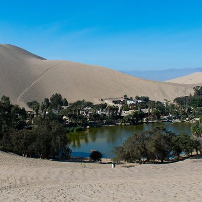 Huacachina oasis in the desert of Peru