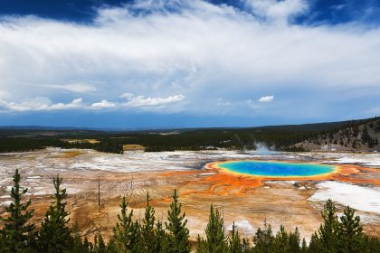 Grand Prismatic Spring and its vivid colors is the largest thermal feature of Yellowstone