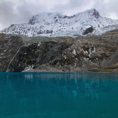 Laguna 69 in Cordillera Blanca, Peru on a cloudy day