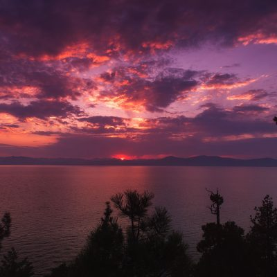Vibrant sunset at Lake Tahoe, California