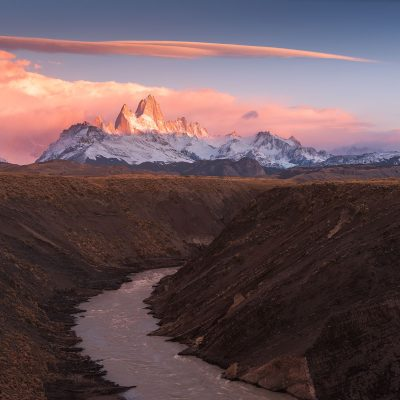 Fitz roy mountain at sunrise and Cerro Torre hidden by clouds