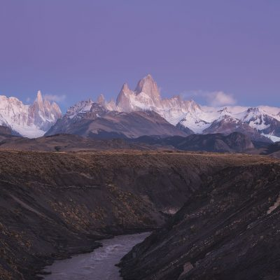 Cerro Torre and Fitz Roy at dawn just before sunrise