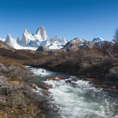 Patagonian landscape with clear view to Fitz Roy moutain range