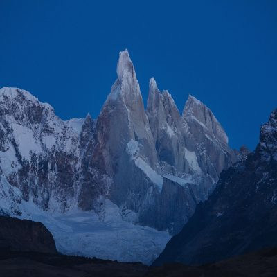 Cerro Torre at dawn before sunrise