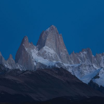 Mighty Fitz Roy at dawn minutes before sunrise on a unsual clear sky Fall morning