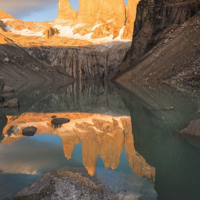 Las Torres del Paine lit up by the first rays of the Sun
