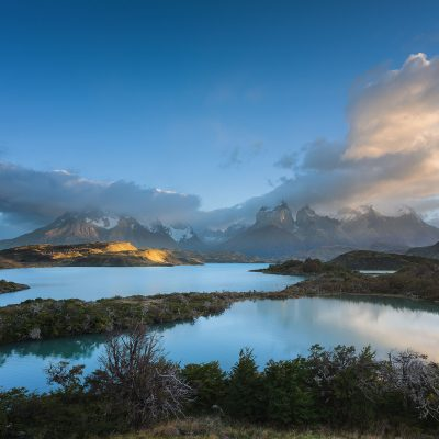 Panoramic sunrise in Torres del Paine National Park