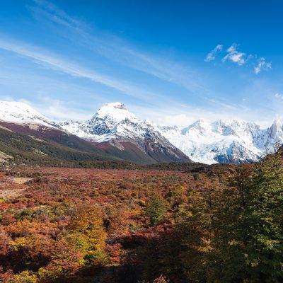 Fall landscape of the valley to Laguna Torre
