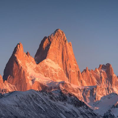 Close up of Mount Fitz Roy at sunrise
