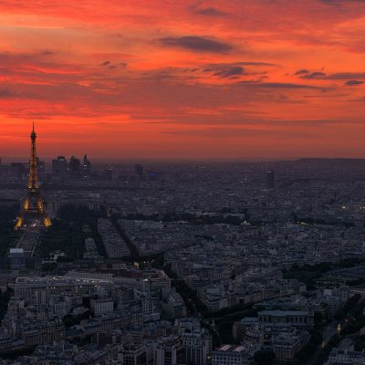 Red sky of Paris at sunset