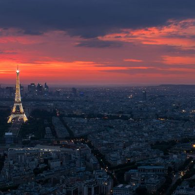Colorful sunset over Eiffel Tower in Paris