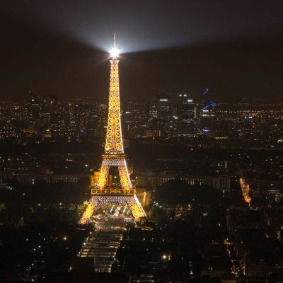 Eiffel Tower at night from Montparnasse Tower Observation Deck