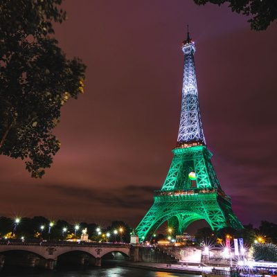 The Eiffel Tower lit up in green and white during Euro 2016 for Wales