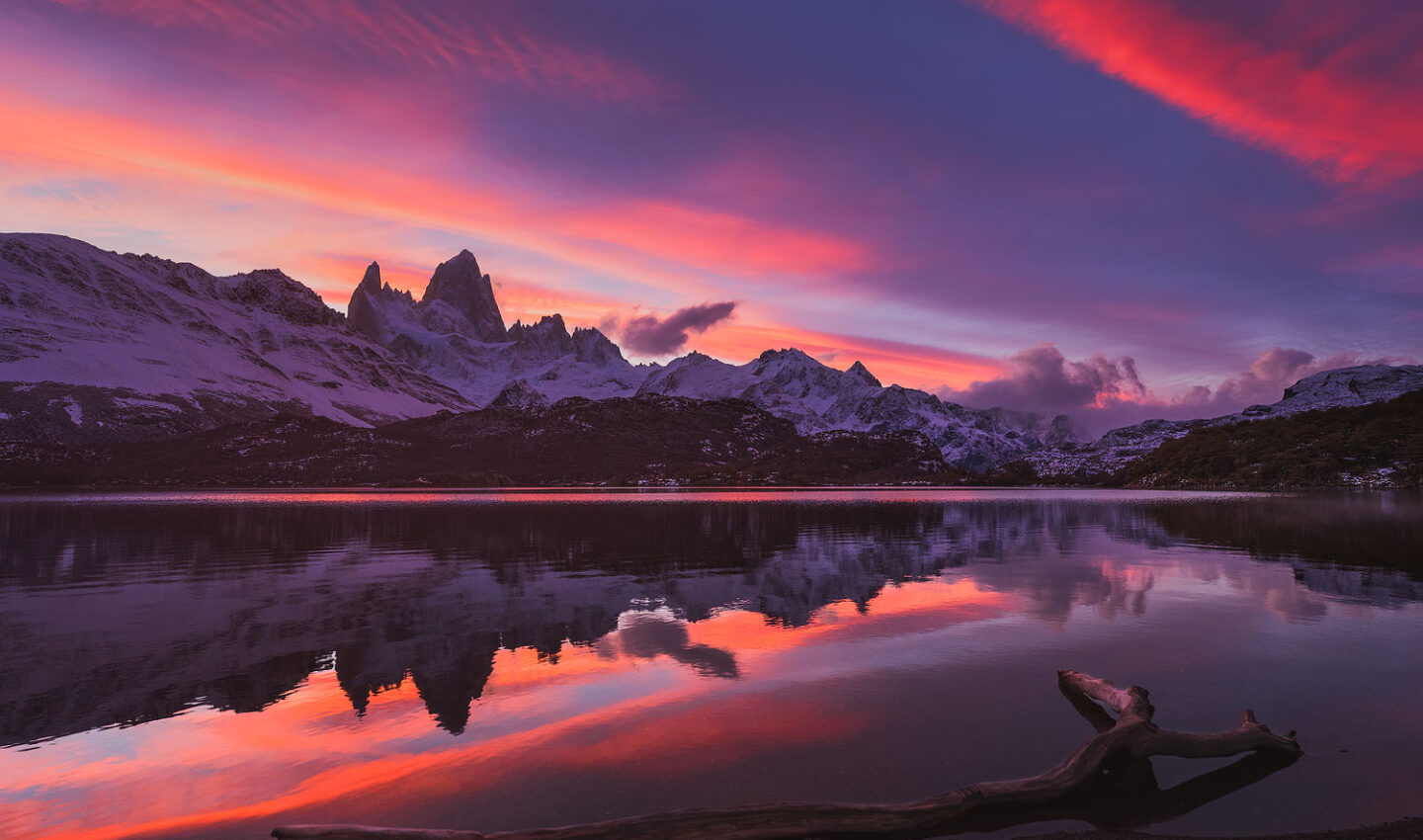 Fitz Roy reflecting during a perfect Fall sunset at Laguna Capri in Patagonia