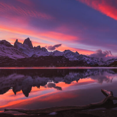 Fitz Roy reflecting during a perfect Fall sunset at Laguna Capri
