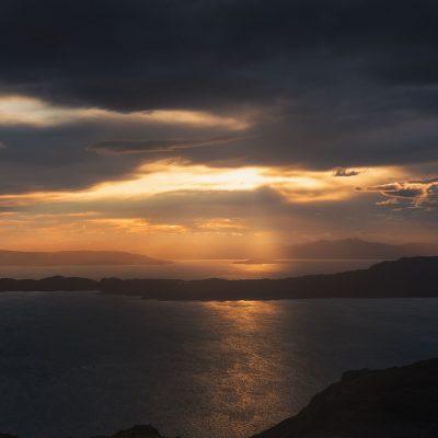 Moody sunrise over the sea. Captured on Isle of Skye, Scotland