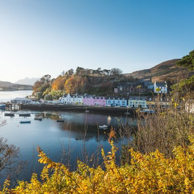 Portree village on Isle of Skye during a crisp fall morning