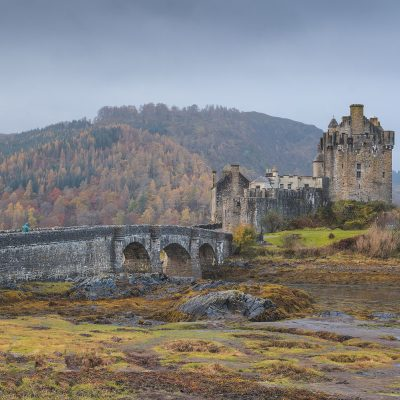 Eilean Donan Castle on a moody fall day