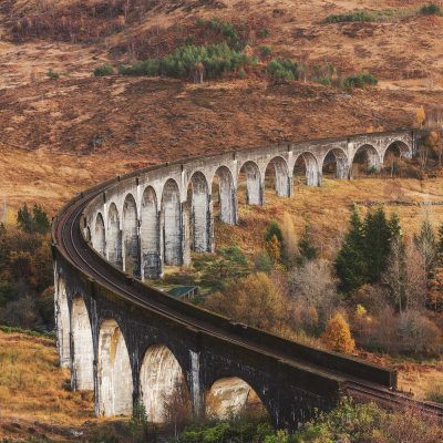 Glenfinnan Viaduct or the famous Hogwarts Express bridge
